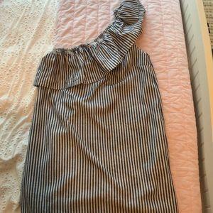 Chambray stripe one shoulder dress